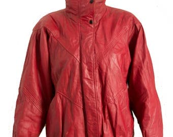 Vintage Red Leather Jacket 80's Style