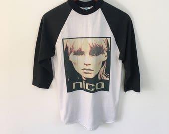Late 1990s Vintage Nico (The Velvet Underground) Baseball Shirt