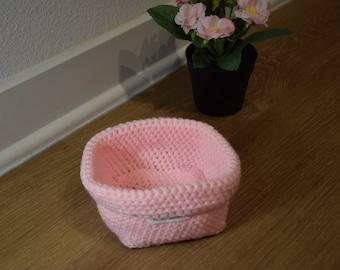 Crochet Storage Basket , Shelves Organizer , Bathroom Storage Basket , Medium Pink Basket , Storage Organizer