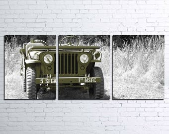 Willys Jeep 3pc Wall Canvas