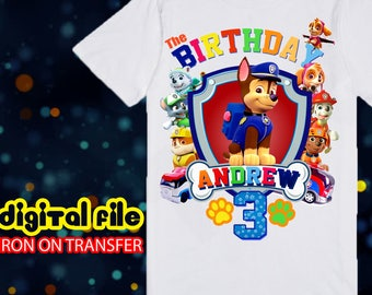 Iron On Transfer Paw Patrol Birthday Shirt, Paw Patrol Iron On Transfer, Paw Patrol Birthday Boy Iron On Transfer, Paw Patrol Personalize