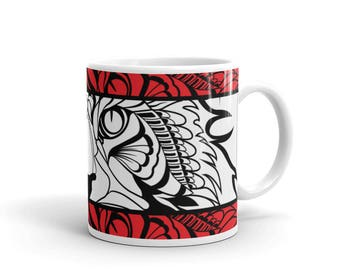 Tribal Cat Mug - Gift for Cat Lover Mug - Maine Coon - Coffee Drink Mug