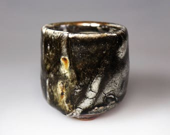 Shino Ware;Black Glost-fired Earthen Teacup;Handmade;Taiwan pottery;Japan style;Ceramicware;Unique gifts;pottery;Multi-colour; tea ceremony