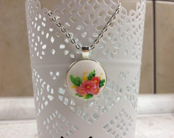 Floral necklace, pendant, polymer clay