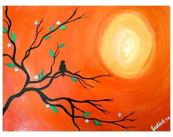 LONE BIRD - Acrylic on Paper - 9in x 12in (22.86cm x 30.48cm) - Abstract Art Original Painting by LeslieA.