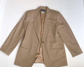 Vintage Camel Oversized Blazer Wool Coat Sag Harbor Size 14