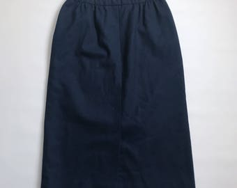 Vintage Pendleton Navy Wool Pencil Skirt Size 8