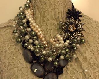 Romantic necklace, glamorous style, with semiprecious stones and SWAROVSKI rhinestones