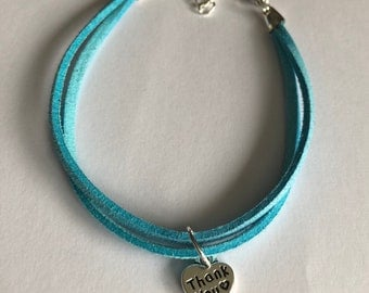 Turquoise Thank you Charm Bracelet/Thank you gift/Gift to say Thank you/Faux Suede Bracelet/Thank you Bracelet/Turquoise Bracelet