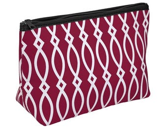 Burgundy/Black/White Zipper Pouch/Cosmetic Bag! Great for