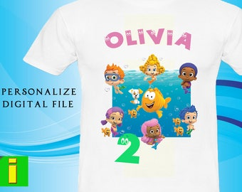 Bubble Guppies Iron On Transfer,Personalize Bubble Guppies Birthday Shirt Iron On Transfer,Bubble Guppies Birthday Party Shirt ,Digital File