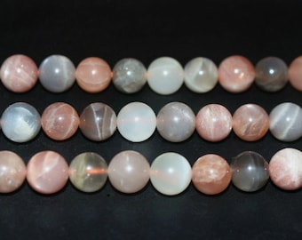 15 Inch Full strand,Grade AA Mixed Color Moonstone smooth round beads 6mm 8mm 10mm 12mm ,loose beads,semi-precious stone,