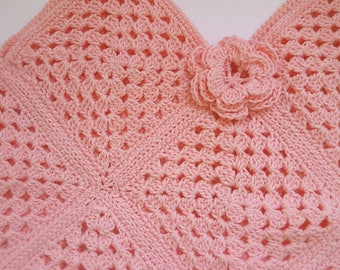 Cotton pink Summer Top tunic with flower toddler size Ready to Ship