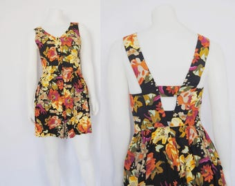 90s dark floral romper, vintage open back playsuit -- button up, cage back, small