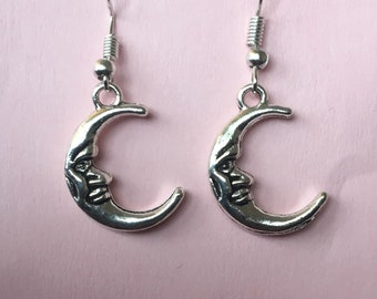 Silver and Gold Moon Face Earrings