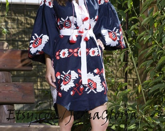 Vyshyvanka Embroidered Dress Black Linen Ukrainian Mexican Kaftan Abaya Caftan Linen caftan, Linen Kaftan, chicnationale, Vyshyvanka dress