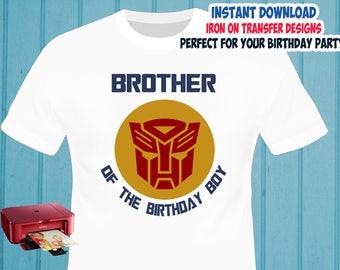 Transformers , Brother , Iron On Transfer , Brother Birthday Shirt Designs , Transformers DIY Brother Shirt Transfer , Digital Files