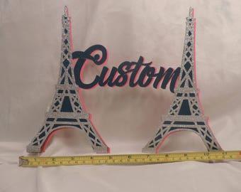 Elegant Glittered custom name Eiffel tower cake topper.