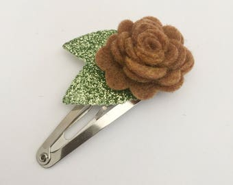 Mocha Flower Snap Clip - Wool Felt - Snap Clips - 50mm Clips -