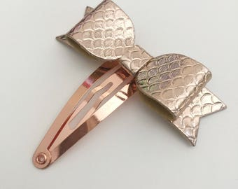 Rose Gold Scales Petite Snap Clip - Faux Leather - Snap Clips - 50mm Clips -