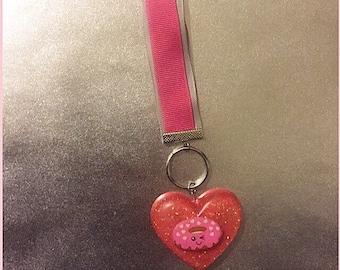 Pink donut keychain