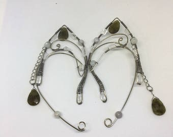 Elf Ear Jacket in titanium  with Labradorite & quartz,Elf Ear Jewelry, Elven Ear Jewelry, Elf Ear Cuff, Elf Ear Cuffs, Elven Ear Cuff,