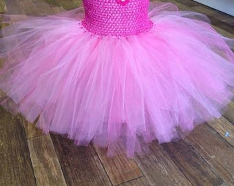 Pink superhero tutu dress, fancy dress costume, party dress for girls