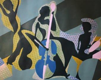 Original Acrylic Abstract Art - Musical Muses, 22x28