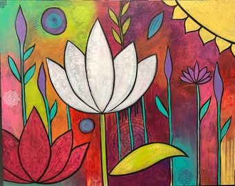 Mistic lotus, Original acrylic painting , flower, lotus flower . Intuitive painting . Yoga art. Whimsical painting.