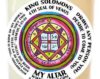 King Solomons Third Seal of Venus Draws Anyone You Desire  to Come to You Scented Soy 8 oz Glass Candle