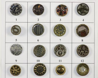 Antique Metal Buttons - 16 Buttons - Board 5