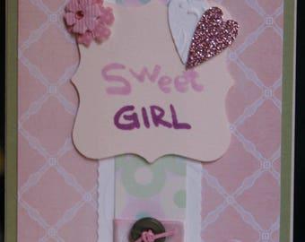 Pink Sweet Girl Handmade Card