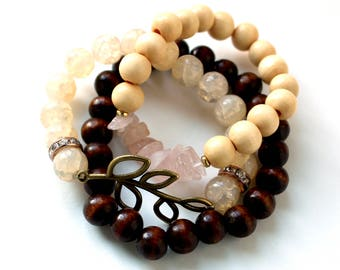 Bronze Leaf Bundle 3 Bracelet Set
