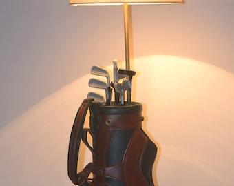 Golf bag lamp,upcycled, phone lamp,golfer,desk lamp