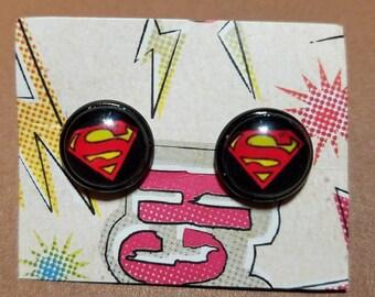 Superman Cabochon Earrings
