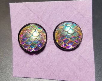 Mermaid Scale Cabochon Earrings - Multiple colors available