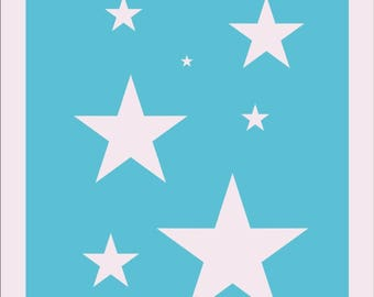 Star Stencil - Stars Stencil - Strong Polyester - Reusable 8.5x11