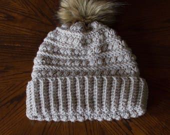 Light Gray Addison Beanie- Women's Beanie with Fur Pom Pom- Winter Hat