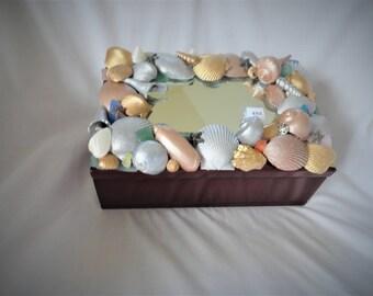 shell box, seashell box, seashells, wooden box, treasure box, jewelry box, trinket box