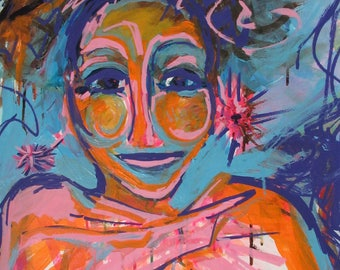 Blue Orange Nubian Queen Expressionist, Abstract Limited Signed Prints