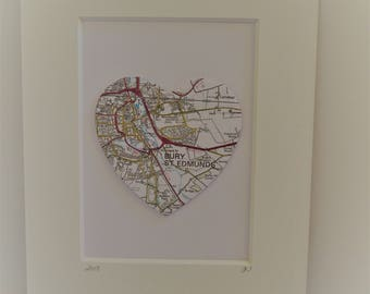 Personalised Map Picture,Heart Picture,Wall Art