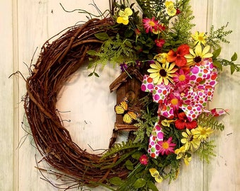 Front door wreath,  country wreath decor,  farmhouse wreath,  rustic wreath,  grapevine wreaths,  everyday wreath,  birdhouse wreath,  daisy