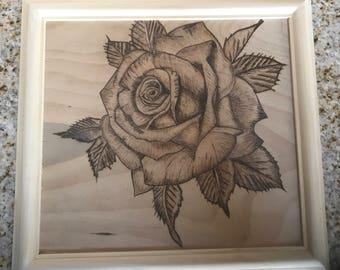Wood burned rose