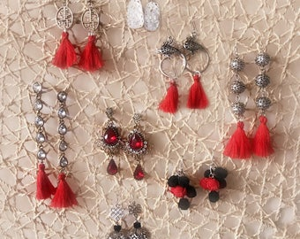 Spring Festival: Chinese New Year Earrings, CNY Jewelry, lucky charms red
