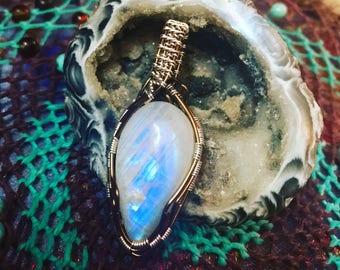 Rainbow moonstone Amulet