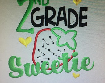 Personalized Back to School Strawberry Sweetie ANY GRADE Shirt
