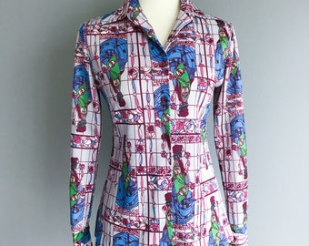 VTG  70s 80s  Stained Glass Printed Button Up