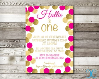 Gold Birthday Invitation, Birthday Invitation, First Birthday Invitation, Girl Birthday Invitation, Gold Invite, Polka Dots Invitation, 007
