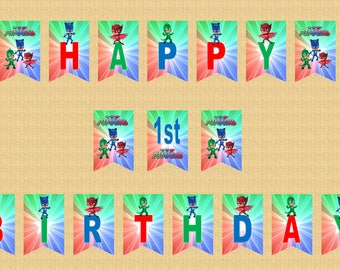 PJ Mask Happy Birthday Swallowtail Bunting Flags