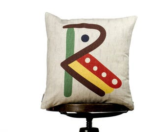 "Creative typography letter R, bright color pillow cover, 16x16"", cotton cushion art cover, light beige background, Child-safe printing."